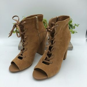 Tan suede lace up booties Sam Edelman